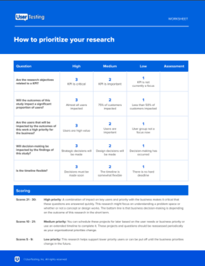 Prioritize research worksheet