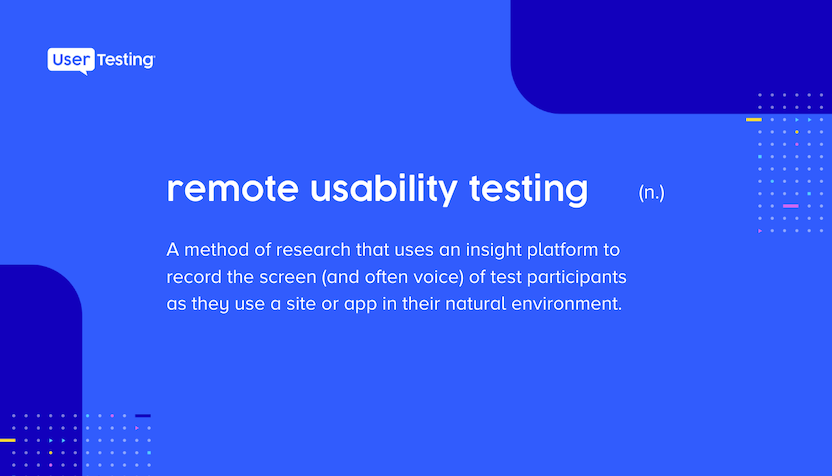 remote usability testing definition