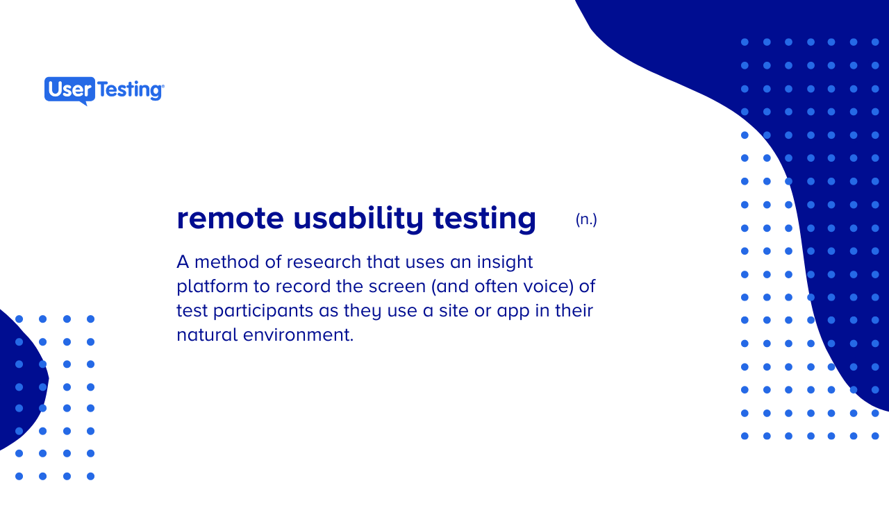 What is remote usability testing?