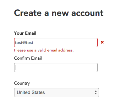 Email field error: Please use a valid email address.