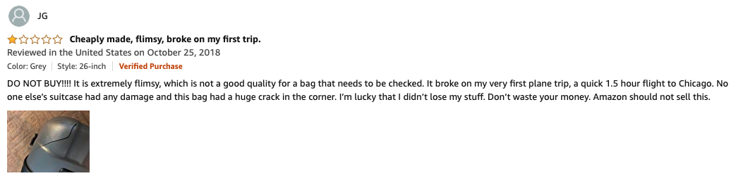 Customer review on Amazon