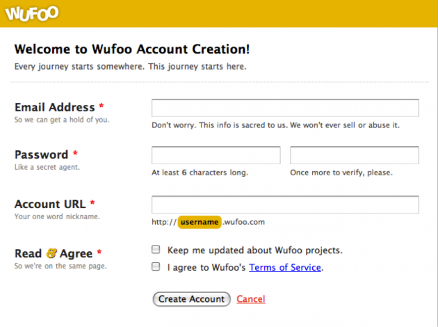 Wufoo account creation form. Email address, password, URL and agreement are required fields, marked with an asterisk.