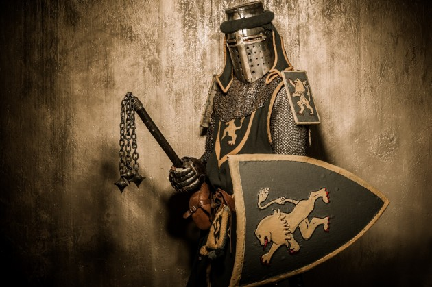 Armored warrior holding a shield and mace