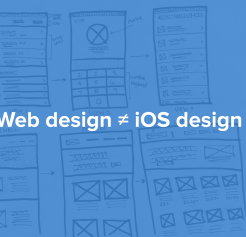 "Sketches with the phrase ""web design does not equal iOS design"""