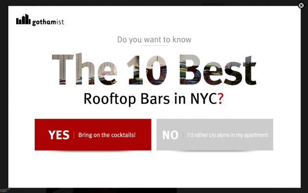 Gothamist's pop-up ad