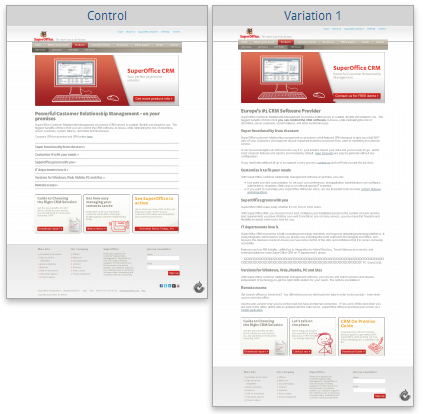 Short-form control page vs. long-form variation page