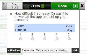 Question: How difficult (1) or easy (5) was it to download the app and set up your account?