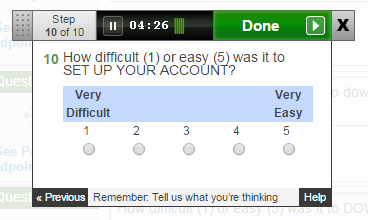 Question: How difficult (1) or easy (5) was it to SET UP YOUR ACCOUNT?