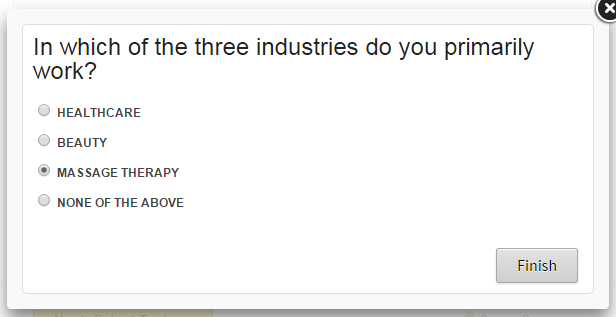 """In which of the three industries do you primarily work? Healthcare; Beauty; Massage Therapy; None of the above"""