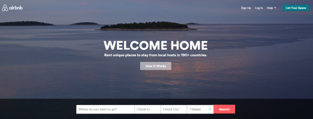"Airbnb homepage: ""Rent unique places to stay from local hosts in 190+ countries."""