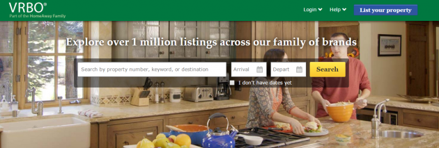 "VRBO homepage: ""Explore over 1 million listings across our family of brands"""