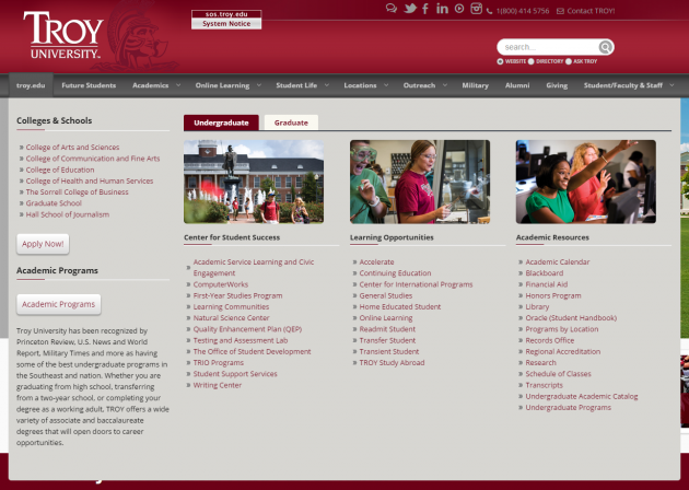 troy's academics drop-down menu