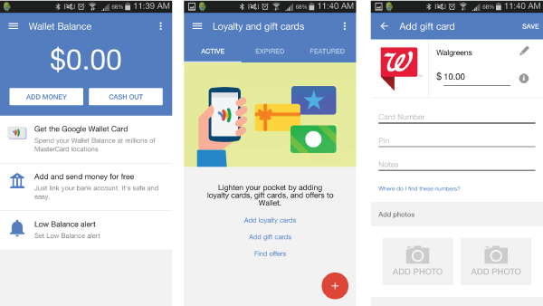 google wallet 3 screenshots
