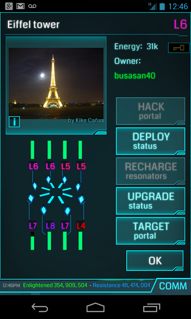 Ingress screenshot: Eiffel Tower