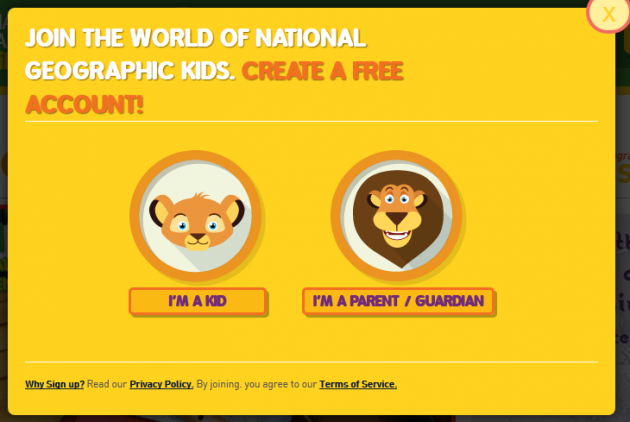 National Geographic sign-up page