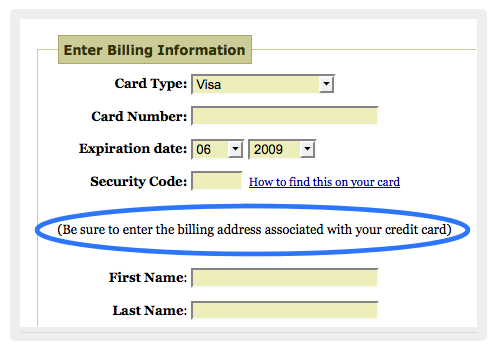 Credit Card Address Verification