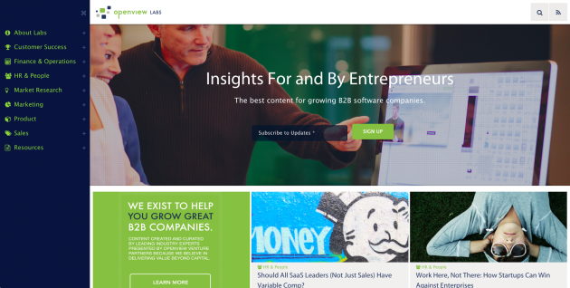 "After: ""Insights for and by entrepreneurs. The best content for growing B2B software companies."""