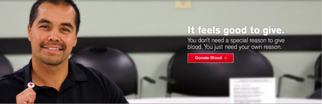 "Smiling blood donor. ""It feels good to give."""