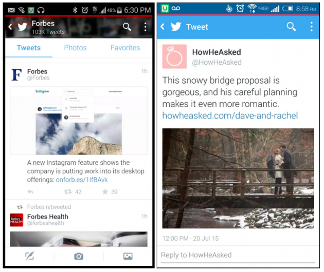 Tweets from Forbes and HowHeAsked with images and clear descriptions