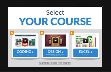 """Select your course: Coding, Design, Excel"""
