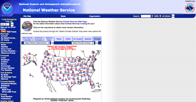 Screen shot of NOAA's National Weather Service website