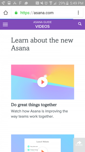 """Asana Guide: Videos. Learn about the new Asana."" Several videos to view."