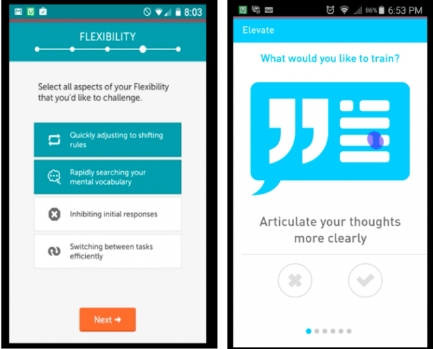 Side-by-side screens of Lumosity and Elevate's onboarding tests.