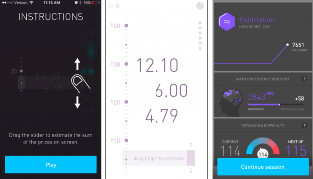 Three screens in an Elevate game: 1. Instructions. 2. Chellange: estimating the sum of several numbers. 3: Results.
