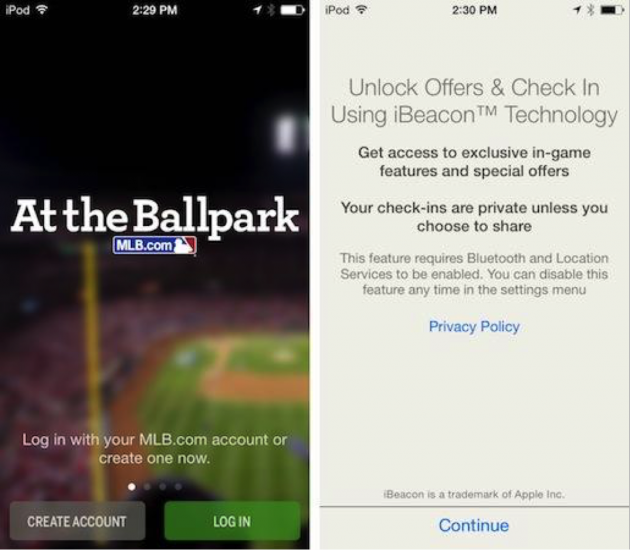 """2 screens from the MLB app: """"Unlock offers & check in using iBeacon technology"""""""