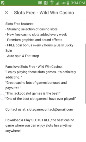 Slots Free game features, contact information, and testimonials
