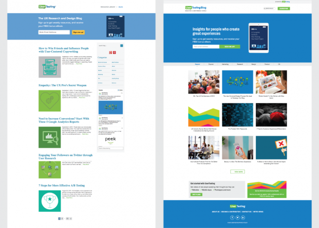 Screenshots of blog before and after redesign