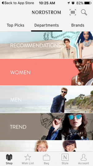 """Departments"" screen of Nordstrom app: Recommendations, Women, Men, Trend."