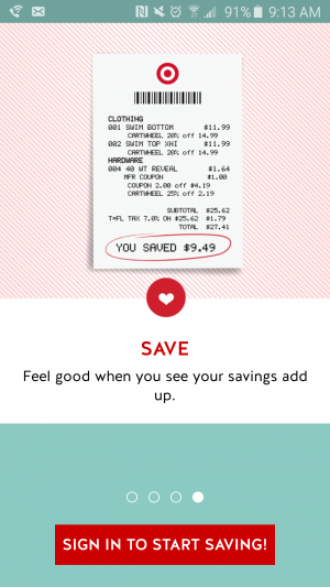 "Sign-in screen of Cartwheel app: ""Save. Feel good when you see your savings add up. Sign in to start saving."""