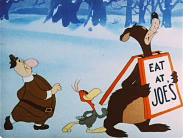 "Image of three cartoon characters from the Tex Avery show called ""Jerky Turkey"" walking in a line with a sign that says ""Eat at Joe's"""