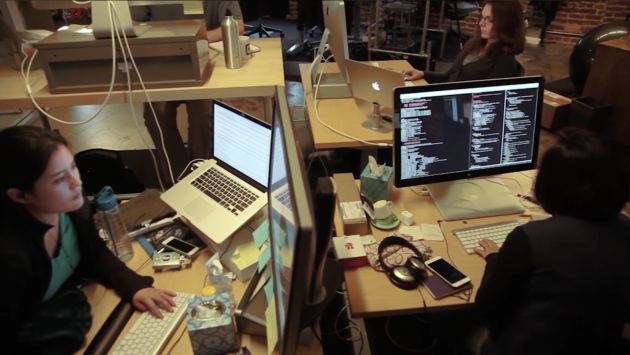 Engineers working in the Quip office