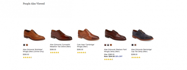 "Nordstrom ""People Also Viewed"" shoe selection"