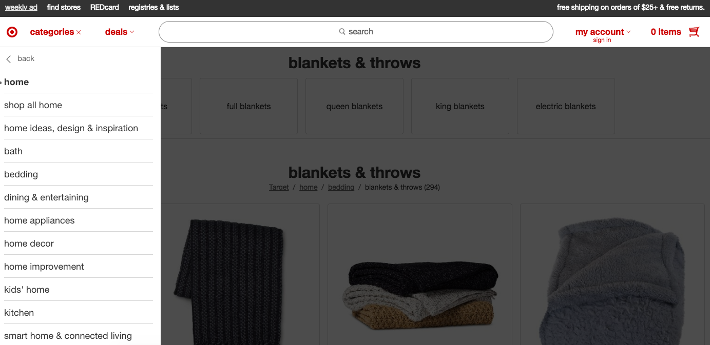 Screenshot of blankets in the Home category of Target.com