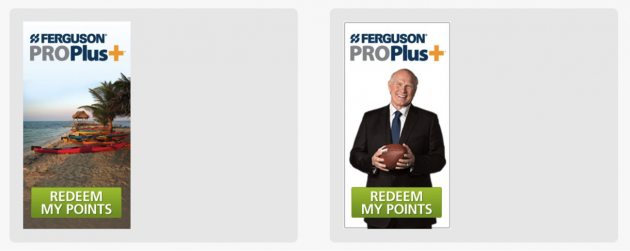 "Left: Image of a beach with text ""redeem my points."" Right: Image of football celebrity Terry Bradshaw with text ""redeem my points."""